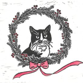 Daphne Cat Holiday Wreath in Color